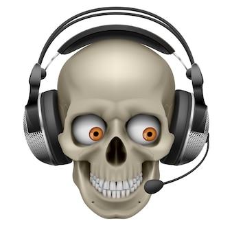 Crânio legal com fones de ouvido