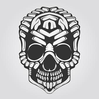 Crânio linha decorativa arte preto e branco