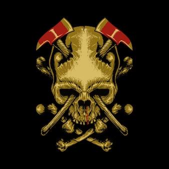 Crânio machados horror ilustração gráfica arte design de camisetas