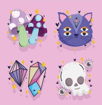 Crânio mágico de gato de cristal e mistério assustador desenho da fortuna