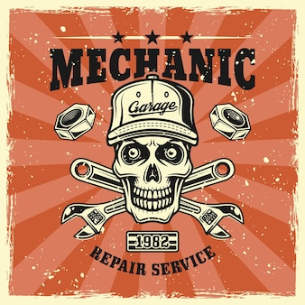Crânio mecânico em emblema de boné e chaves, distintivo, etiqueta, logotipo ou t-shirt em estilo vintage colorido. ilustração vetorial com texturas grunge em camadas separadas
