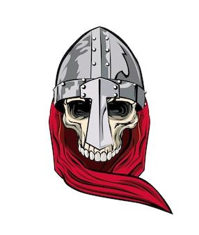 Crânio medieval com capacete de aço