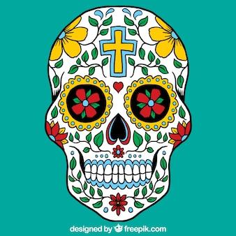 Crânio mexicano colorido