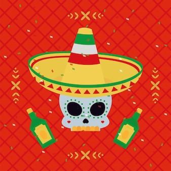 Crânio mexicano com chapéu