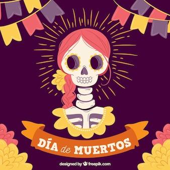 Crânio mexicano com estilo adorável