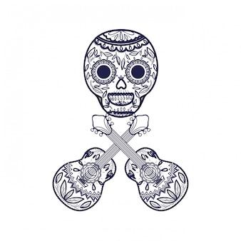 Crânio mexicano com ícone de guitarra