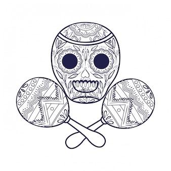 Crânio mexicano com ícone isolado de maraca