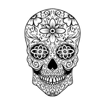 Crânio mexicano de açúcar desenhado de mão isolado no fundo branco. elemento de design para cartaz, cartão, banner, camiseta, emblema, sinal. ilustração vetorial