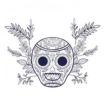 Crânio mexicano ícone isolado