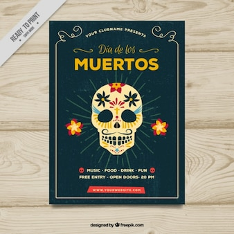 Crânio mexicano poster vintage