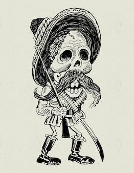 Crânio mexicano revolucionário