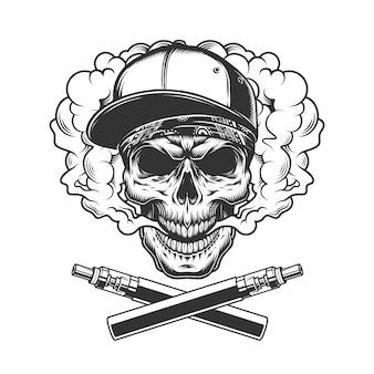 Crânio monocromático hipster em nuvem de fumaça
