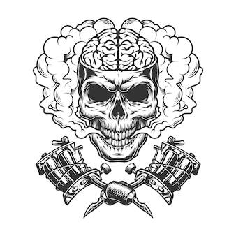 Crânio monocromático vintage com cérebro humano