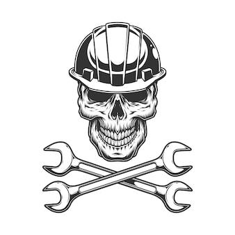 Crânio monocromático vintage no capacete do construtor