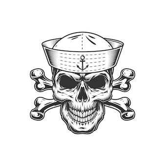 Crânio monocromático vintage no chapéu de marinheiro