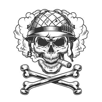 Crânio monocromático vintage usando capacete de soldado