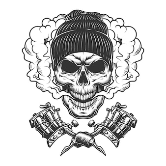 Crânio monocromático vintage usando chapéu de gorro