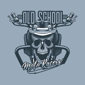 Crânio montado na moto com inscrição da velha escola