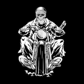Crânio, montando um crânio de motocicleta, andar de moto