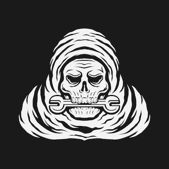 Crânio morde a chave reparador de esqueleto com chapéu ilustração em vetor logotipo vintage