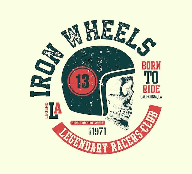 Crânio motor. motociclista de design vintage.