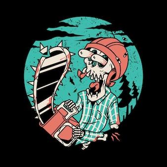 Crânio motosserra desenho animado ilustração gráfica arte design de camiseta