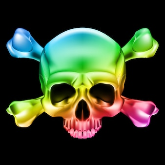Crânio multicolorido