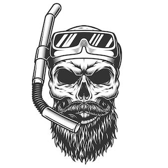 Crânio na máscara de mergulho