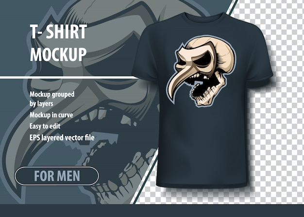 Crânio na máscara teatral, modelo de modelo para impressão. vetor de layout como uma oferta de impressão em t-shirts.