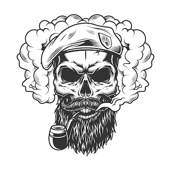 Crânio na nuvem de fumaça Vetor grátis