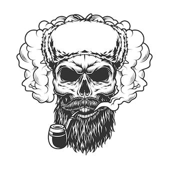 Crânio na nuvem de fumaça