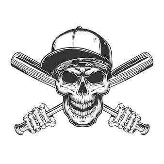 Crânio no boné de beisebol e bandana