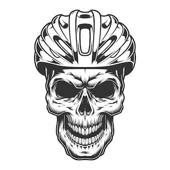 Crânio no capacete de bicicleta