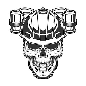 Crânio no capacete de cerveja