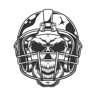 Crânio no capacete de futebol