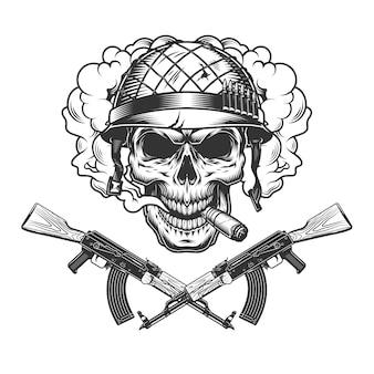 Crânio no capacete de soldado fumando charuto