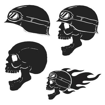 Crânio no capacete do piloto com fogo. ilustrações