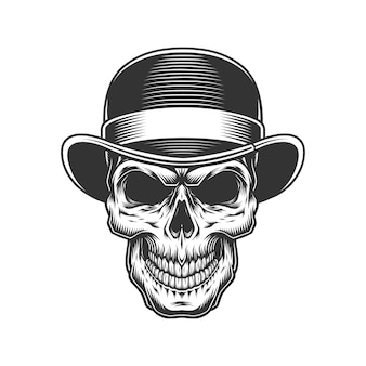 Crânio no chapéu-coco