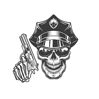 Crânio no chapéu da polícia e óculos de sol