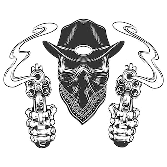 Crânio no chapéu de cowboy e cachecol