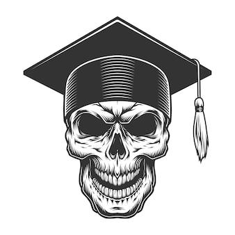 Crânio no chapéu de pós-graduação
