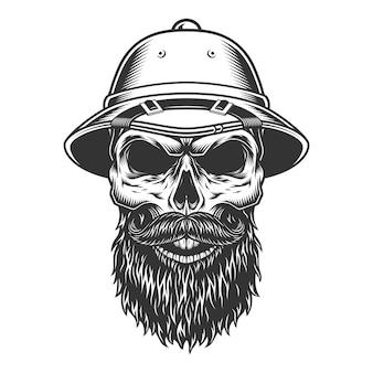 Crânio no chapéu de safari