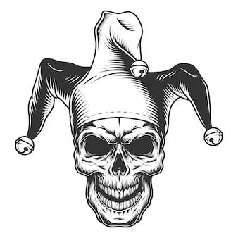 Crânio no chapéu do bobo da corte