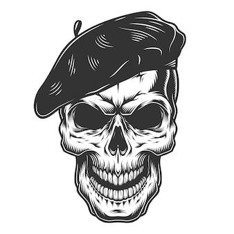 Crânio no chapéu do pintor