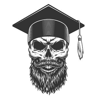 Crânio no chapéu graduado