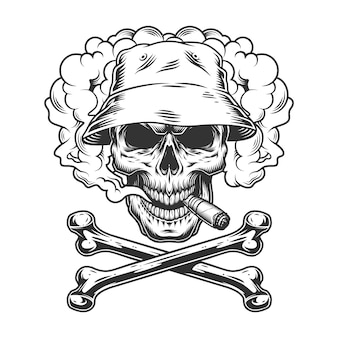 Crânio no chapéu panamá fumar charuto