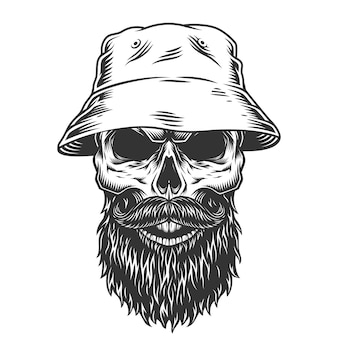 Crânio no chapéu panamá