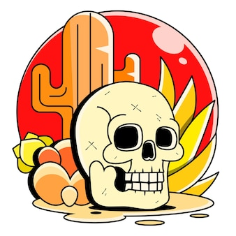 Crânio no deserto ao pôr do sol, desenho de ilustração vetorial