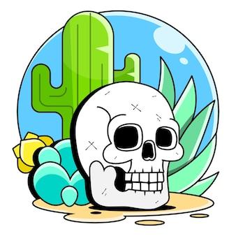 Crânio no deserto ao pôr do sol, ilustração vetorial