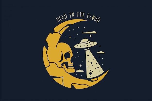 Crânio no espaço com estrela